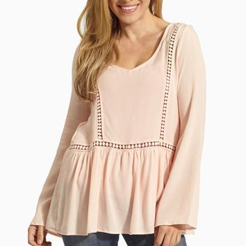 Peach Crochet Cutout Accent Linen Blouse