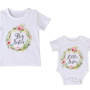 Floral Wreath - Big Sister Shirt Little Sister Romper - Sibling Outfits