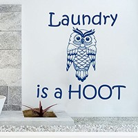 Wall Decals Quotes Vinyl Sticker Decal Quote Laundry is a HOOT Nursery Baby Room Kids Boys Girls Home Decor Bedroom Art Design Interior NS695