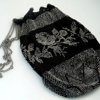 Antique French Cut Steel Reticule Purse Edwardian Draw String Purse