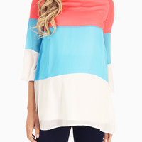 Pink Blue White Colorblock Chiffon Maternity Top