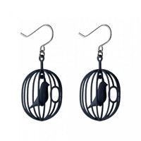 designdelicatessen - Happy bird earrings - black - Happy & Merry Bird