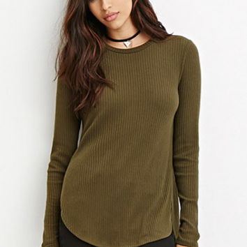 Side-Slit Ribbed Top