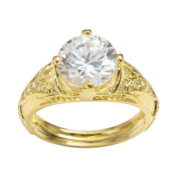 Sophie Miller 14k Gold Over Silver Cubic Zirconia Filigree Ring (White)