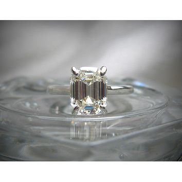 A Perfect Elongated 2.5CT Asscher Cut Russian Lab Diamond Solitaire Ring