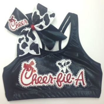 Cheer fil A Sports Bra and bow combo or choose only sports bra or only bow