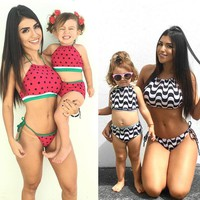 ITFABS 2017 Summer Family Match Swimsuit Mother and Daughter print Bikini Set Toddler Kids Swimming Bathing Suit Swimming