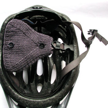 Bicycle Helmet Ear Warmers Gray Wool Hand Knit by GretaHoneycutt