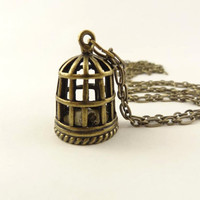 Bird Cage Pendant Necklace, Antique Brass Toned, long chain