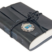 Black Faux Leather Journal with Vintage Car Cameo and Bookmark