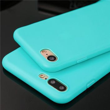 Ultra thin candy color phone cases for iphone 6 6s 6plus 6splus 7 7plus 8 8plus 5 SE 5s X case silicone coque soft tpu cover