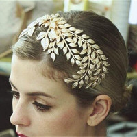Bridal Gold Crown Tiaras Fashion Leaves Shape Vintage Wedding Bridal Headbands Headwear