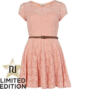 pink lace belted skater dress
