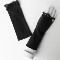 Black Victorian Lace Fingerless Gloves, Goth Wedding Wristwarmers, Sexy Lolita Accessory, Harley Quinn Cosplay, Ready to Ship