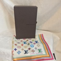 "New in Box LOUIS VUITTON White Multicolor Silk Scarf Bandanna, 18"", RARE!!"