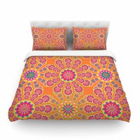 "Miranda Mol ""Pixelated Bright"" Orange Pink Pattern Arabesque Digital Vector Featherweight Duvet Cover"