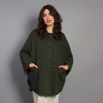 70s Loden WOOL CAPE / Preppy Forest GREEN Eddie Bauer Poncho