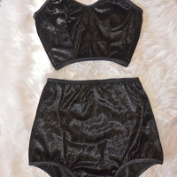 Black velvet lingerie set