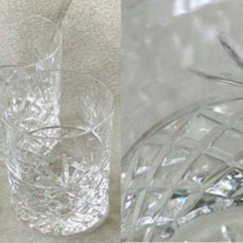 Four Royal Brierley Bruce Pattern Crystal Cut Glass Large Old Fashioned Whisky Tumblers c.1980s (ref: 3075)
