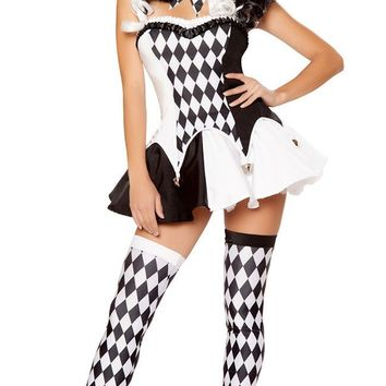 Women Sexy Funny Circus Clown Costume Naughty Harlequin Uniform Adult Halloween Cosplay Fancy Dress Party Performance Clothing