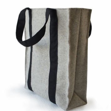 Large Gray Felt Tote Bag - Everyday Tote, Felt Tote, Handmade bag,Gift for Her, Valentines Gift