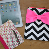 Neon iPad Case / Android Tablet Sleeve - Black and White Chevron Dayglo Pink Bow and Back Zipper Pocket - Padded - Sized to Fit Any Brand