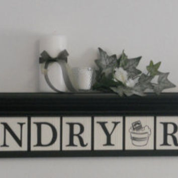 "Laundry Room Wall Decor includes 42"" Shelf and 12 letters for LAUNDRY ROOM, Washboard and Bucket Painted Black and White"