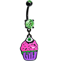 Black Zombie Cupcake Belly Ring | Body Candy Body Jewelry