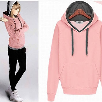 Winter All-match Solid Hooded Pullover Women's Hoodie = 1828321220