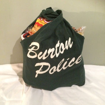 Medium Size Michigan Burton Police Number 9 Upcycled Reusable T-shirt Tote