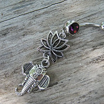 Lotus Flower Elephant Belly Button Ring, GARNET RED Barbell Ball Crystal, Antiqued Silver Buddhist Hindu Body Piercing Jewelry