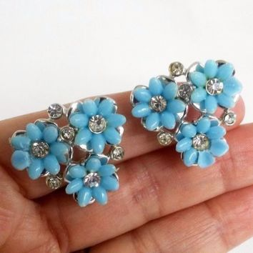 Vtg Blue Plastic Flowers Clear RS Silver Tone Clip On Earrings RePairedPetals