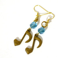 Gold Heart Music Eighth Note Charm with Twisted Turquoise Blue Crystal Bead Accent Earrings - Fashion Trend Accessories