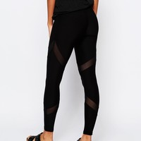 South Beach Black Mesh Insert Legging at asos.com