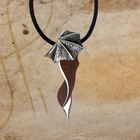 Sherry Lady Under The Umbrella, Unique Sterling Silver Necklace, Wooden Necklace with Pure Leather Chain, Solid Silver Pendant, Best gift