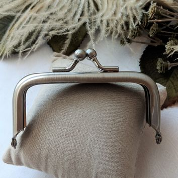 Brushed Nickel Rectangular Coin Purse Wallet Frame Hardware