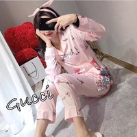 """Gucci"" Women Fashion Cartoon Print Long Sleeve Cardigan Home Sleepwear Set Three-Piece"