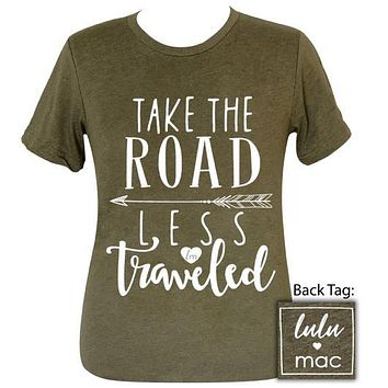 Girlie Girl Originals Lulu Mac Preppy Take Road Less Traveled Distressed T-Shirt