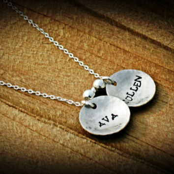 Personalized Jewelry Hand Stamped Mommy Sterling Silver Necklace 2 names domed and hammered