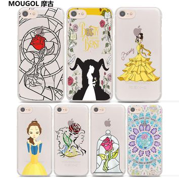 MOUGOL rose stained glass beauty beast design hard Transparent clear Case Cover for Apple iPhone 7 6 6s Plus SE 5s 5c