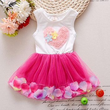 2017 new trends summer sweet little girl love sleeveless dress cotton lace petals pink love children's Princess Dress