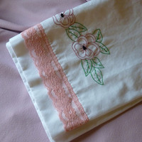 Sweet Chic White Vintage Embroidered Pillow Case by marlanawill