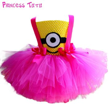 Hot Pink Minion Girl Tutu Dress Baby Girl Birthday Party Cosplay Tutu Dresses Halloween Costume Clothes Wear For Kids Photos
