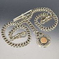 Antique Edwardian Silver Watch Chain Necklace 43 gms.