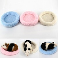 14 cm Mini Pet Winter fadeless Mats Pad Machine Washable Hamster Hedgehog No hair loss Round Cage Mat Hamster Sleeping Bed