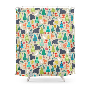 Society6 Summer Woodland Shower Curtains