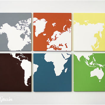 Large World Map Multi Colored Wall Art - Customizable Gift this Christmas
