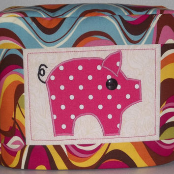 Toaster Cover - Pink Polka Dot Pig - 2 Slice Toaster Cover