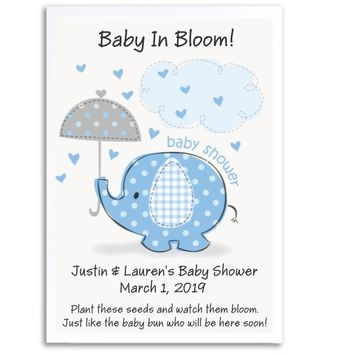 8 Baby Elephant Baby Shower Seed Favors Blue