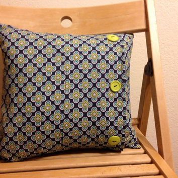 Navy blue and lime green throw pillow with buttons- 14 X 14